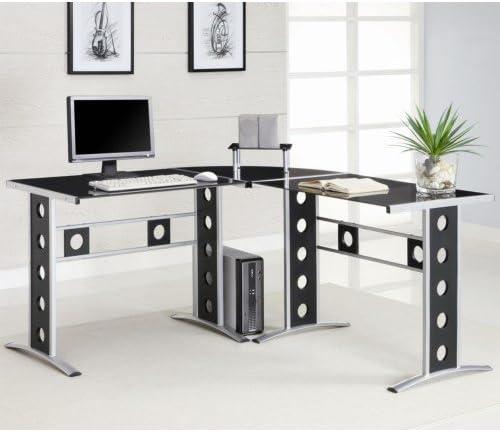 Keizer 3-piece L-shape Office Desk Set Black and Silver