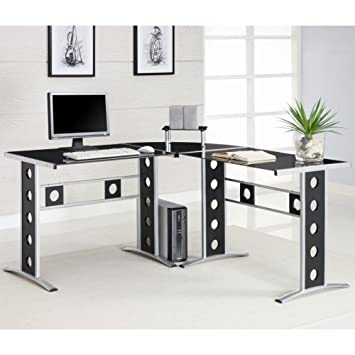 Keizer 3-piece L-shape Office Desk Set Black and Silver