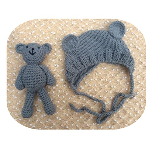 Pinbo Newborn Baby Photography Prop Bear Hat Beanie with Bear Dolls Accessories (Grey)