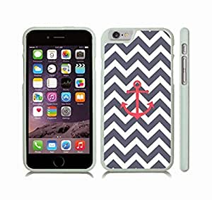 Case Cover For SamSung Galaxy S4 with Chevron Pattern Stripe Grey Blue/ White/ Red Anchor Snap-on Cover, Hard Carrying Case (White)