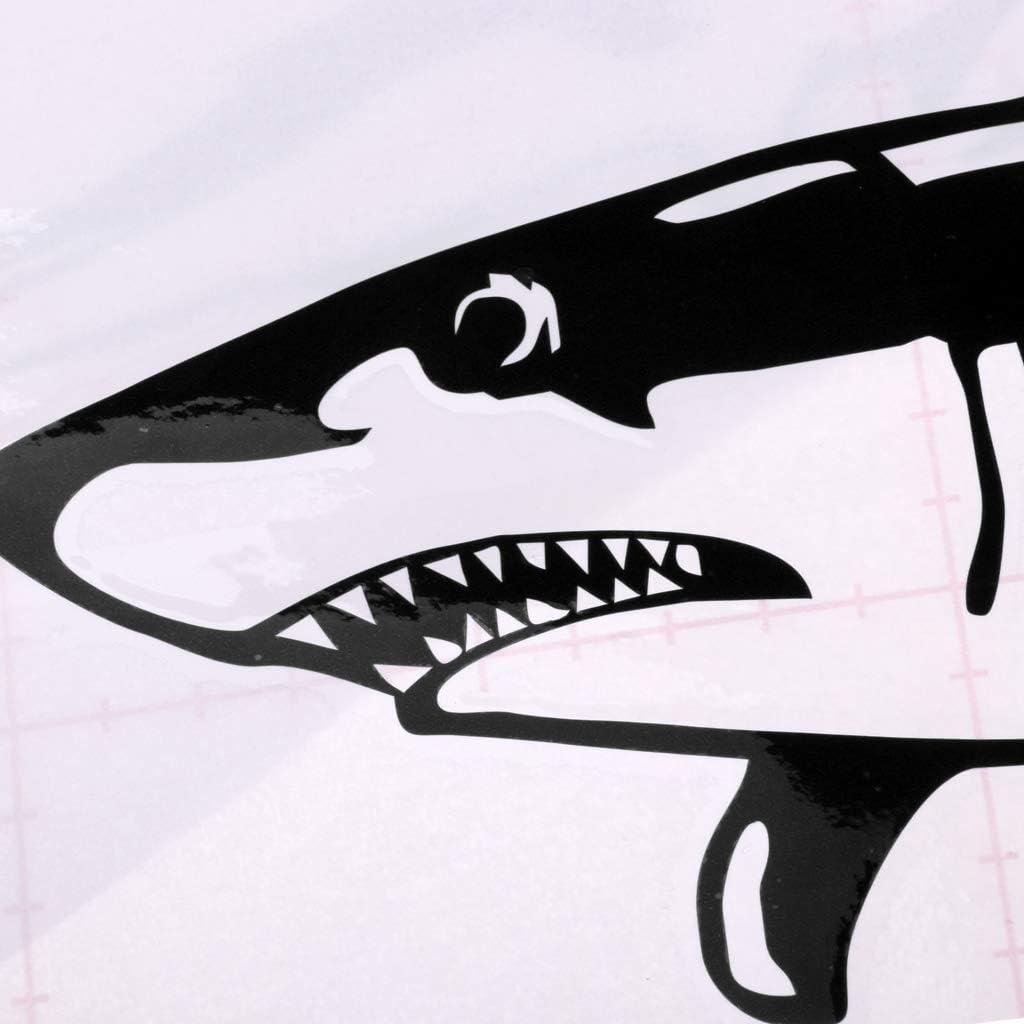 Baoblaze Pack 2 Self-Adhesive Shark Sticker Kayak Canoe Car Truck Bumper Cool Decals