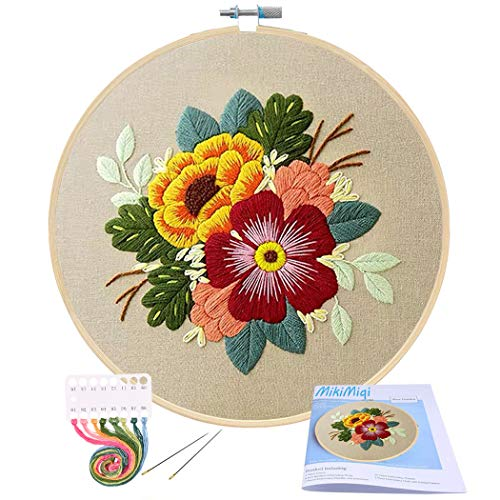 Embroidery Starter Kit with Pattern, Mikimiqi Full Range of Stamped Embroidery Kit Including Embroidery Cloth with Floral Pattern, Bamboo Embroidery Hoop, Color Threads Tools Kit (Colorful Flowers)
