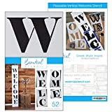 Extra Large 52 inch Welcome Stencil for Painting on Wood | Ideal for 5ft Vertical Porch Sign (Rustic Farmhouse Entrance Sign) French Country Style