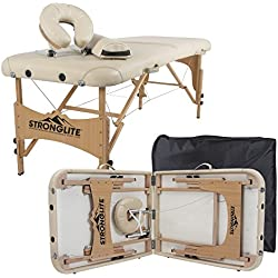 "STRONGLITE Portable Massage Table Package Olympia - All-in-One Treatment Table w/Microfiber Sheet Set (3), Adjustable Face Cradle, Half Round Bolster & Carrying Case (28""x73"")"