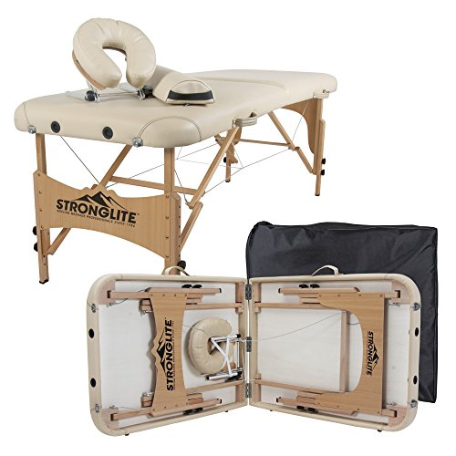 STRONGLITE Portable Massage Table Olympia - Double Knobs, Package w/ Adjustable Face Cradle, Face Pillow, Half Round Bolster, Microfiber Sheet Set & Carry Case (28x73