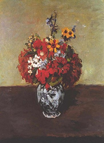 Dahlias in a Deft Vase - Paul Cezanne. Wall Decal - Peel & Stick, Removable (16
