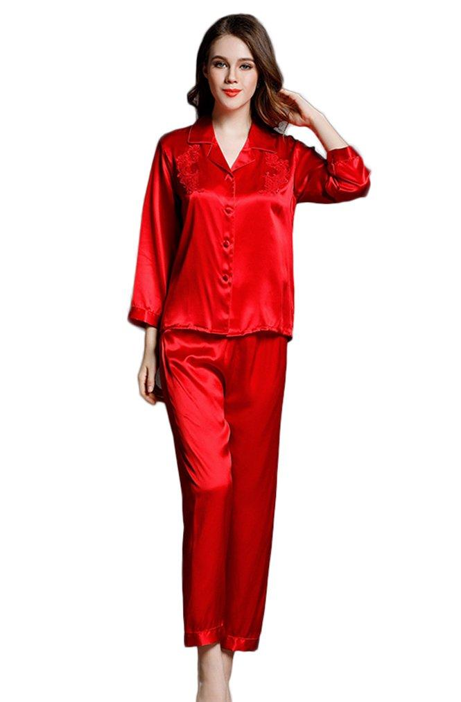 Colorful Silk Luxury Silk Pajamas Sets Homewear Beautiful Gifts Red L