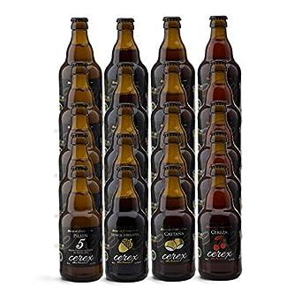 CEREX- Pack Degustación de 20 Cervezas Artesanas - Cerveza de Castaña, Ibérica de Bellota, Cereza y Pilsen - Mejor Cerveza Artesanal de España Premios