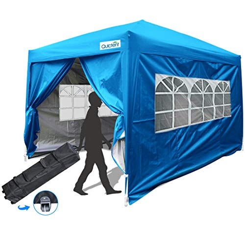 Quictent Silvox Waterproof 10x10 EZ Pop Up Canopy Commercial Tent Gazebo Portable with 4 Sides &Roller Bag (Light Blue) (Gazebo Portable)