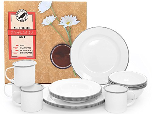 Starter 16 Piece Dinnerware Set Color Grey from Crow Canyon Home