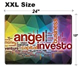 Luxlady Extra Large Mouse Pad XXL Extended Non-Slip Rubber Gaming Mousepad 24x15 Inch, 3mm thick Stitched Edge Desk Mat IMAGE ID: 36862645 Angel investor word cloud concept with abstract background