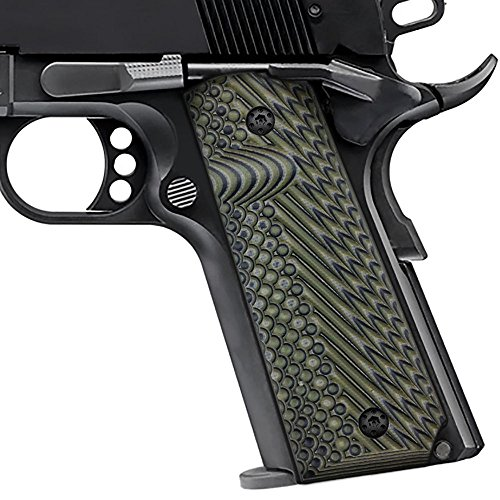 Cool Hand 1911 Full Size G10 Grips, Free Screws Included, Mag Release, Ambi Safety Cut, OPS Texture, OD Green/Black, Brand, H1-J1-21
