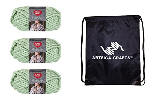Red Heart Knitting Yarn Grande (3-Pack) Spearmint E826-0623 Bundle with 1 Artsiga Crafts Project Bag