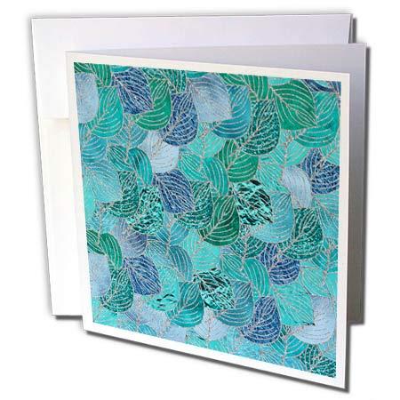 3dRose Uta Naumann Faux Glitter Pattern - Luxury Aqua Teal Faux Metal Foil Glitter Autumnal Foliage Leaf Pattern - 12 Greeting Cards with envelopes ()