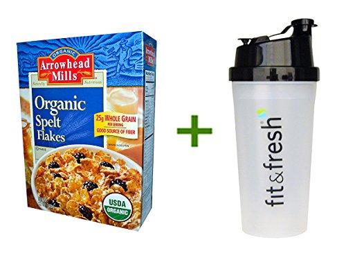 Arrowhead Mills Spelt Flakes (Arrowhead Mills, Organic Spelt Flakes, 12 oz (340 g), (4 PACK), Vitaminder, Power Shaker Bottle, 20 oz)