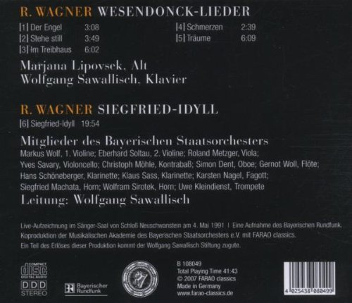 Richard Wagner: Wesendonck-Lieder und Siegfried-Idyll - Recorded live at the Singer's Hall of Neuschwanstein Castle by Farao Classics
