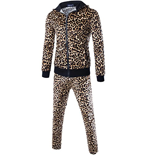 Dantiya Men's Lover Leopard Print Hoodie Coat Zip Sweatshirt and Pant Sets Sweatsuit Yellow L