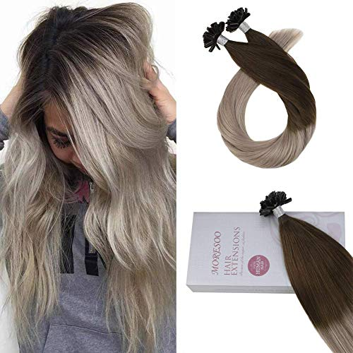 (Moresoo Hair Ombre Fusion Extensions 18 Inch Hair Extensions Keratin U Tip Color #4 Brown Fading to #18 Blonde Keratin Tipped Hair Extensions 1g/s 50g Per Package Fusion Real Hair Extensions)