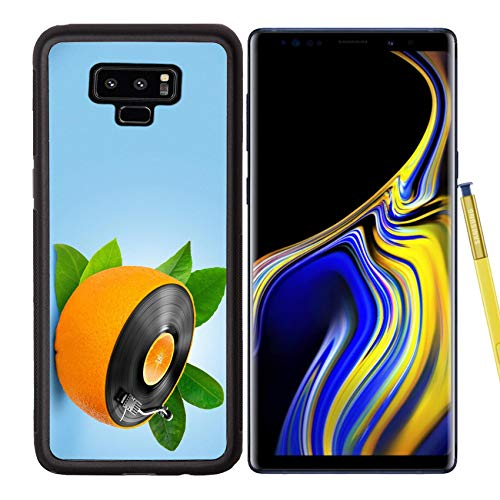Luxlady Samsung Galaxy Note 9 Case Aluminum Backplate Bumper Snap Cases Image ID: 23911081 Musical Background with a Vinyl disc and Orange
