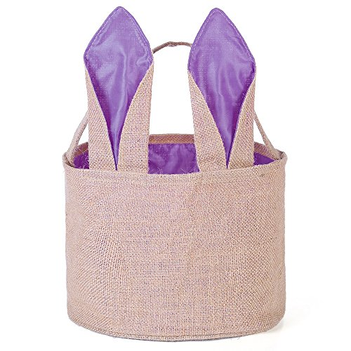 Easter Egg Basket for kids Bunny Burlap Bag to Carry Eggs Candy and Gifts (Purple)