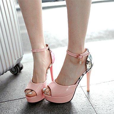 LFNLYX Sandalias mujer Primavera Verano Otoño otros PU Parte & Noche Casual Stiletto talón Rhinestone Applique hebilla Blanca Rosa Verde Pink