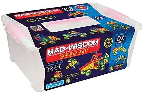 200PCS Deluxe set colorful magnetic building blocks packaged in gift bucket by Mag-wisdom