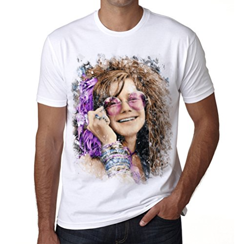 - One in the City Janis Joplin Color, Mens Tshirts, Picture Tshirts Men, Gift Tshirts White