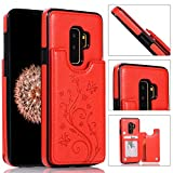 Back Wallet Case for Samsung Galaxy S9 Plus with Stand,QFFUN Elegant Embossed Design [Butterfly Flower] Lightweight Slim Fit Leather Phone Case with Card Holder Protective Bumper Flip Cover - Red