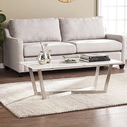 Wrexham Faux Marble Cocktail Table – Soft Ivory Gray Finish – X Frame Nickel Base