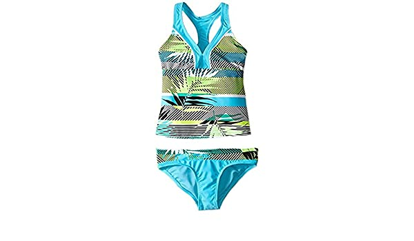 11d78447b1dd6 Amazon.com: ZeroXposur Girls' Tiki Topsy Halterkini 2 Piece Swimsuit (14,  Azure): Clothing