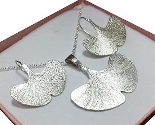 Conjunto de pendientes (Zarcillos) y colgante en plata - Ginkgo