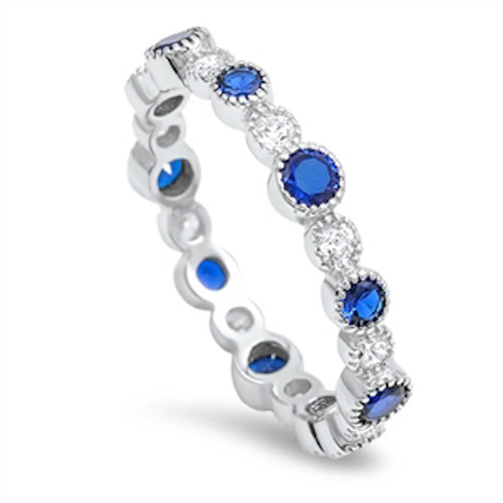 Sterling Silver Cubic Zirconia Stackable Eternity Wedding Band Available in Colors (Sterling Silver Simulated Blue Sapphire, 10)