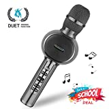 Karaoke Microphone Dual Singing, ZealSound Bluetooth Karaoke Microphone TWS Duets, Vocal Remove, No Need Singing APP, FM and Speaker for Pop, Rock n Roll Parties, Solo Parties and More