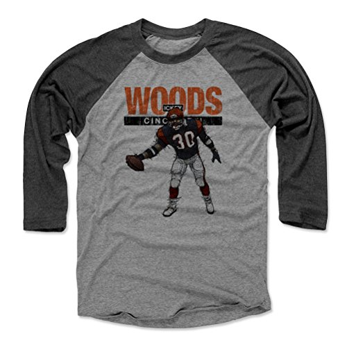 500 LEVEL Ickey Woods Baseball Tee Shirt (X-Large, Black/Heather Gray) - Cincinnati Bengals Raglan Tee - Ickey Woods Touchdown Dance Cincinnati