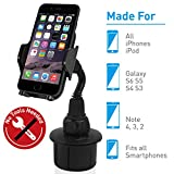 Macally Adjustable Automobile Cup Holder Phone Mount for iPhone 7 7 Plus 6s Plus 6s 5s 5c Samsung Galaxy S8 S7 Edge S6 S5 Note 5, iPod, Smartphones,...