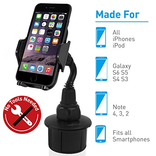 Macally Adjustable Automobile Cup Holder Phone Mount for iPhone XS XS Max XR X 8 8+ 7 7 Plus 6s Plus 6s SE Samsung Galaxy S9 S9+ S8 S7 Edge S6 S5 Note 5, Xperia iPod, Smartphones, MP3, GPS (MCUPMP) ()