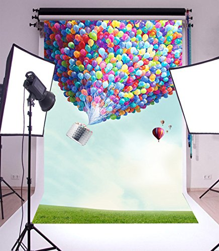 (LFEEY Sweet Hot Air Balloon 6x9ft Photography Background Blue Sky Clouds Colorful Balloon Photo Shoot Props Video Drape Wallpaper Girl Kid Portrait)