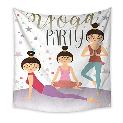 BlountDecor Simple Tapestry Invitation to a Yoga Party 70W x 70L Inch ()