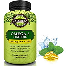 NATURELO Omega-3 Fish Oil Supplement - 1000 mg EPA & DHA per Serving - Best For Heart, Eye, Brain & Joint Health - No Burps - 120 Softgels   2 Month Supply