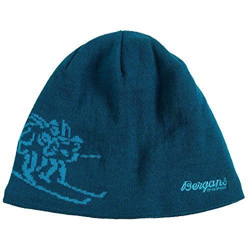Bergans of Norway - Wool Blend Ski Art Logo Birkebeiner Beanie Hat (58/Large, Deep Sea Blue/Light - Blue Norway Light
