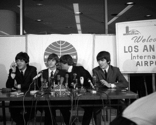 The Beatles John Lennon Paul at LAX airport 1960's press conference 16x20 - John Airport Lennon