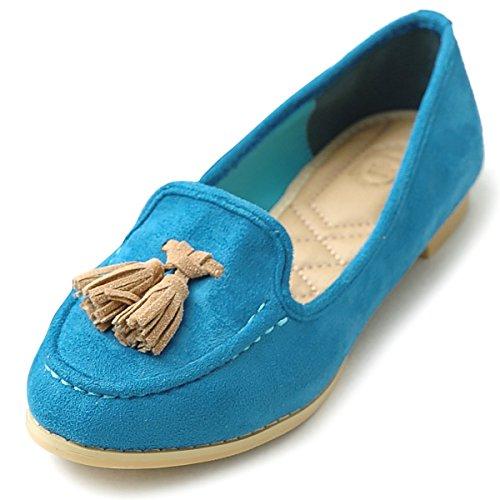 Ollio Womens Ballet Shoe Tassel Faux-Suede Cute Flat Blue