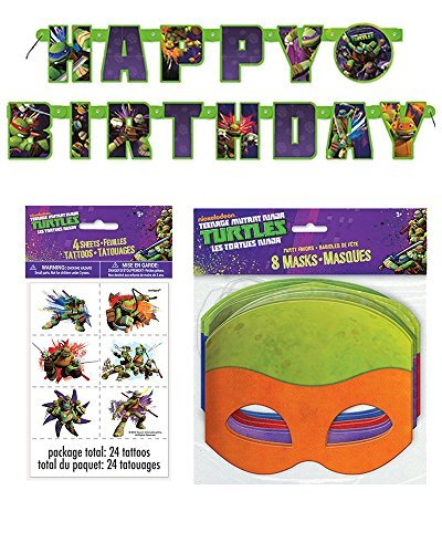 Teenage Mutant Ninja Turtle Birthday Party Supplies for 16 - 16 Masks, 48 Tattoos, One Birthday Banner (Ninja Turtle Party Mask)