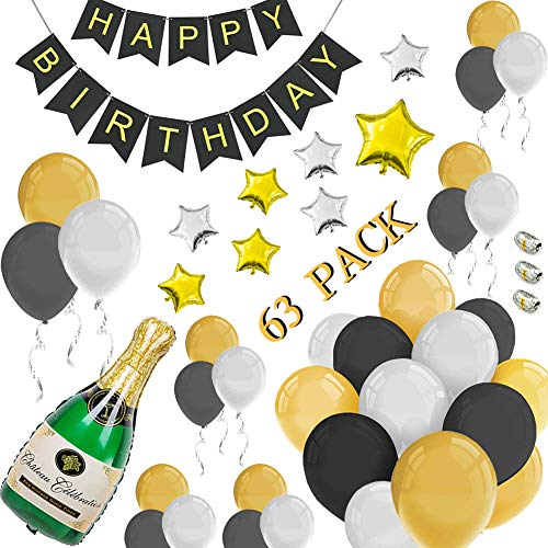 63 PACK Happy Birthday Party Decorations Gold &