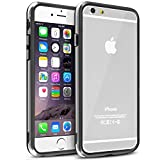 INSTEN Clear TPU Bumper Case with Aluminum Button for Apple iPhone 6 - Retail Packaging - Clear/Black