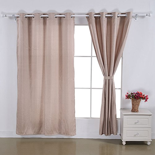 Deconovo Grommet Top Jacquard Stripe Window Curtain For Living Room 52x95,Champagne,1 Pair
