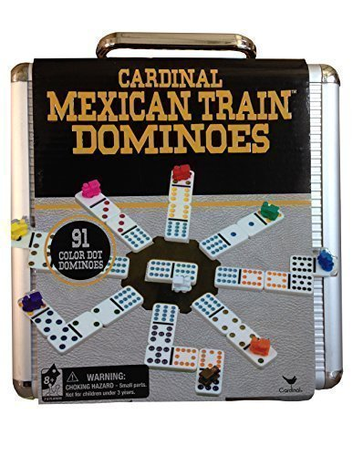 Mexican Train Set - Cardinal Mexican Train Domino Game with Aluminum Case ~ Styles May Varies