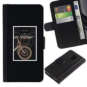 iBinBang / Flip Funda de Cuero Case Cover - Bicicletas Hipster enmarcada Vintage minimalista - Samsung Galaxy S5 V SM-G900