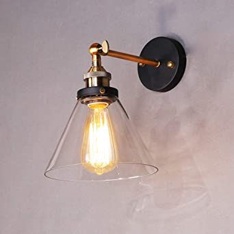 Louvra Applique Murale Intérieur Edison E27 Lampe Industrielle Vintage  Ombre En Verre Wall Light Luminaire Réglable Éclairage Cuisine Salle à ...
