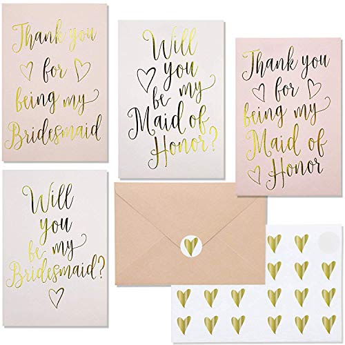 (Juvale 24-Pack Bridesmaid Proposal Invitations and Thank You Cards with Envelopes and Stickers, Gold Foil, 4 x 6 Inches)